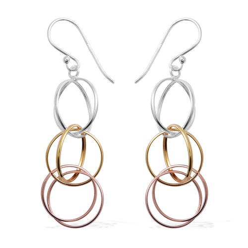 Yellow Gold, Rhodium and Rose Gold Overlay Sterling Silver Round Dangle Spiral Hook Earrings