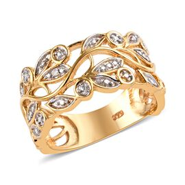 Designer Inspired- Diamond (Rnd) Leaves Ring (Size P) in 14K Gold Overlay Sterling Silver, Silver wt 3.91 Gms