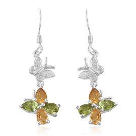 Hebei Peridot (Pear), Citrine Butterfly Hook Earrings in Sterling Silver 3.250 Ct.