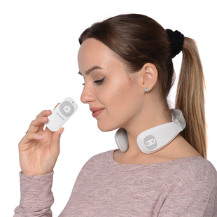 Smart Neck Massager with Remote Control & USB Cable (Size 17.2x16.5x 5.5cm) - White