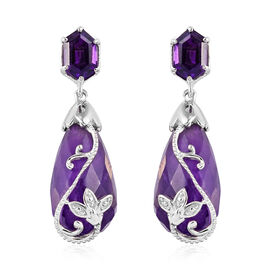 GP 24.72 Ct Amethyst and Blue Sapphire Drop Earrings in Platinum Plated Sterling Silver