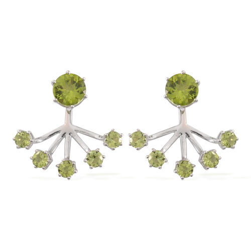 Hebei Peridot (Rnd) Jacket Earrings (with Push Back) in Rhodium Plated Sterling Silver 6.390 Ct. Silver wt 5.56 Gms.