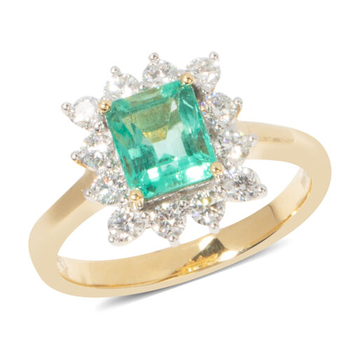 ILIANA 18K Yellow Gold AAA Boyaca Colombian Emerald (Oct) Diamond (SI/G-H) Ring 1.940 Ct.