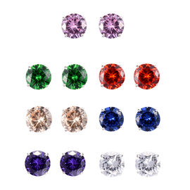 Set of 7 12.25 Ct Multi Gemstone Stud Earrings in Sterling Silver