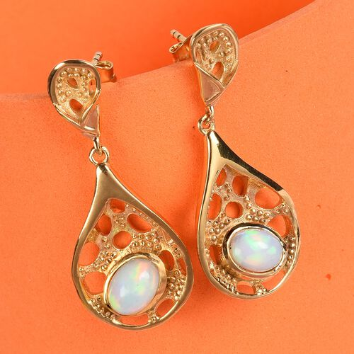 Ethiopian Welo Opal Earrings (with Push Back) in 14K Gold Overlay Sterling Silver 1.00 Ct.