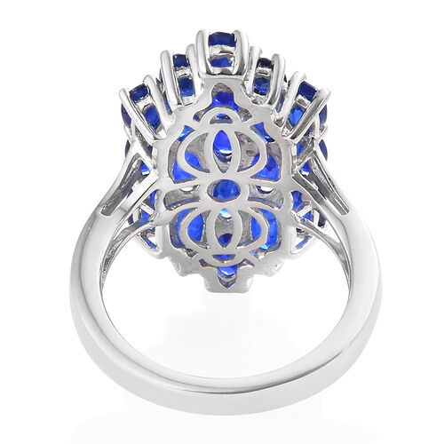 Blue Spinel (Ovl) Ring in Platinum Overlay Sterling Silver 4.500 Ct.