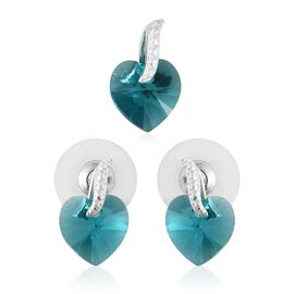 J Francis Crystal from Swarovski - Blue Zircon Crystal (Hrt) Earrings (with Push Back) and Solitaire Pendant in Sterling Silver