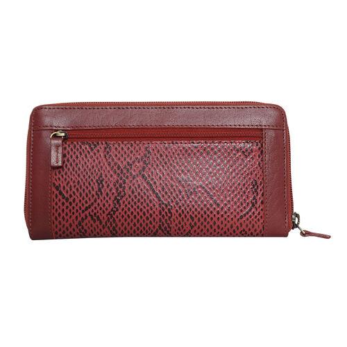 Assots London Animal Print Leather Purse (Size 21x12x2cm) - Red