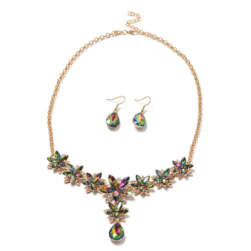 2 Piece Set - Simulated Mystic Topaz, White Austrian Crystal Floral Necklace and Hook Earrings in Go