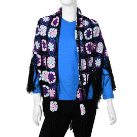 Limited Collection La Marey 100% Cotton Hand Crochet Black, Purple & Multi Colour Floral Shawl  (86x