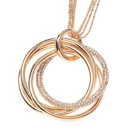 White Austrian Crystal (Rnd) Circle Pendant With Chain (Size 29 with 2 inch Extender) in Gold Tone