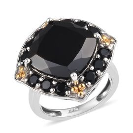 12.50 Ct Boi Ploi Black Spinel Halo Ring in Platinum and Gold Plated Silver