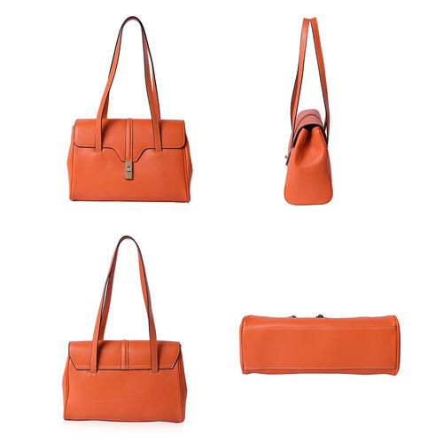 100% Genuine Leather Tote Bag (Size: 34x12x22cm) - Orange