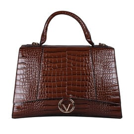 19V69 ITALIA by Alessandro Versace Crocodile Pattern Satchel Bag with Detachable Stap and Metallic Clasp Closure (Size 35x23.5x13cm) - Brown