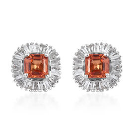 1.25 Carat AAA Orange Sapphire and Diamond Halo Stud Earrings in Platinum Plated Sterling Silver