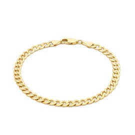 9K Yellow Gold Diamond Cut Flat Curb Chain Bracelet (Size 8.5), Gold wt 8.85 Gms