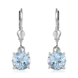 AA Sky Blue Topaz (Rnd) Lever Back Earrings in Platinum Overlay Sterling Silver 3.00 Ct.