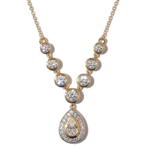 J Francis - 14K Gold Overlay Sterling Silver (Pear and Rnd) Necklace (Size 18) made with SWAROVSKI Z