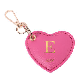 Pink Genuine Leather Heart Shaped Initial E Key Chain (7x6cm)