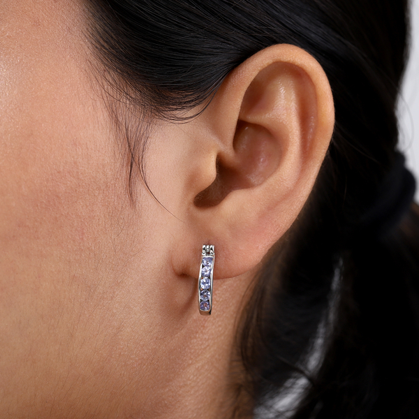Tanzanite Earrings (with Clasp Lock) in Platinum Overlay Sterling Silver
