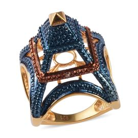 Blue and Champagne Diamond Eiffel Tower Ring in 14K Gold Overlay Sterling Silver, Silver wt. 8.50 Gm