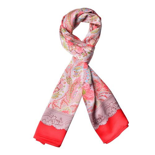 100% Mulberry Silk Red, Pink and Multi Colour Rose Flower and Leaves Pattern Scarf (Size 170x52 Cm),