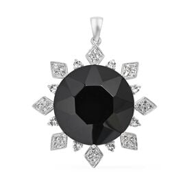 J Francis Made with Swarovski Jet Crystal Sunburst Pendant in Sterling Silver 14.56 Grams
