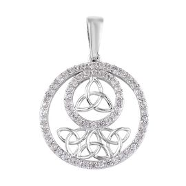 Natural Cambodian Zircon (Rnd) Celtic Pendant in Platinum Overlay Sterling Silver 1.25 Ct.