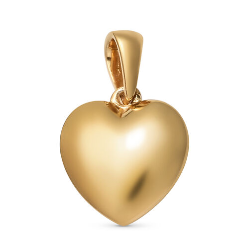 14K Gold Overlay Sterling Silver Heart Pendant and Earrings (with Push Back)