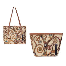 Signare Tapestry - Art Tote Bag in Klimt-Tree of Life Design (33 x 27 x 15 cms) with Free Makeup Bag