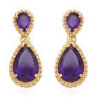 8.03 Ct Zambian Amethyst Drop Earrings in Gold Plated Sterling Silver