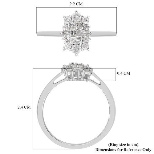 9K White Gold SGL Certified Diamond (I3/G-H) Ring 0.50 Ct.