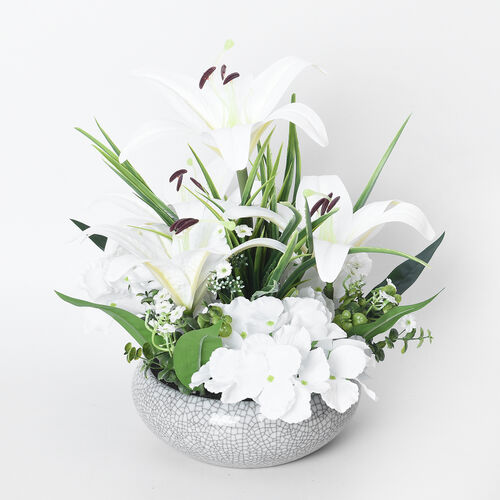 4 Heads Lily and 3 Heads Hydrangea Decorative Flower Arrangement in Ceramic Pot (Height: 40Cm) - Whi