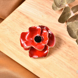 TJC Poppy Design - Black Austrian Crystal Enamelled Poppy Flower Brooch
