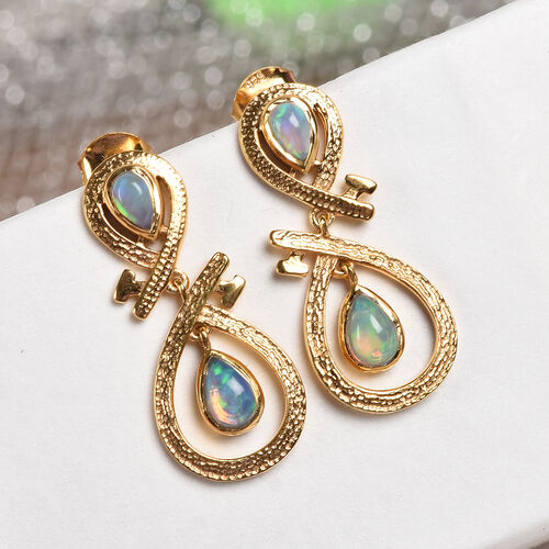 Ethiopian Welo Opal Infinity Nail Earrings (with Push Back) in 14K Gold Overlay Sterling Silver 0.80 Ct.
