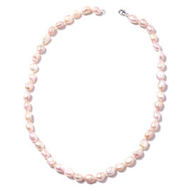 Freshwater Natural Purple Pearl Beaded Necklace in Rhodium Plated Sterling Silver 20 Inch