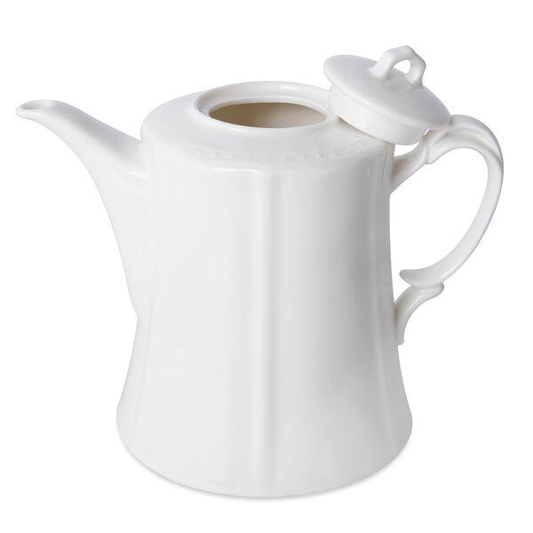 22 Piece Set - Embossed Tea Set (Consists of 6 Cups, 6 Saucers, 7 Spoons, 1 Sugar Jar, 1 Milk Jar, 1 x 800ml Tea Pot ) - White