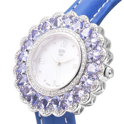 EON 1962 Swiss Movement Tanzanite and Natural White Cambodian Zircon Watch with Blue Genuine Leather Strap in Rhodium Overlay Sterling Silver 7.92 Ct, Silver wt 13.20 Gms