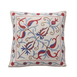Assots London Hand Made 100% Cotton Embroidered Cushion Cover - Navy & Red