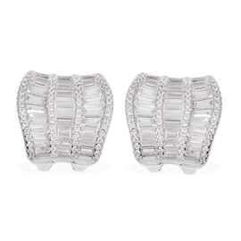 Simulated Diamond Cluster Stud Earrings in Silver Tone