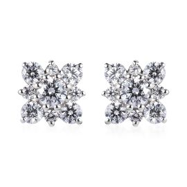 J Francis Platinum Overlay Sterling Silver Floral Cluster Earrings (with Push Back) Made with SWAROV
