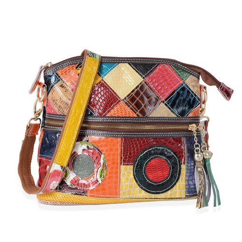 MOROCCO COLLECTION 100% Genuine Leather Multi Colour Blocking Crossbody Bag with External Zipper Poc