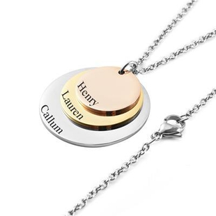 Personalised Engravable 3 Tier Disc Necklace in Three Tone