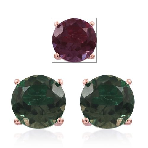 Alexandria Quartz (Rnd) Stud Earrings (with Push Back) in Rose Gold Overlay Sterling Silver 8.250 Ct.