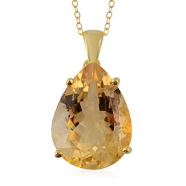 14.76 Ct Extremely Rare Size AAA Citrine Drop Pendant with Chain in Gold Plated Silver 18 Inch