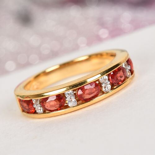 Red Sapphire and Natural Cambodian Zircon Band Ring in 14K Gold Overlay Sterling Silver 1.25 Ct.