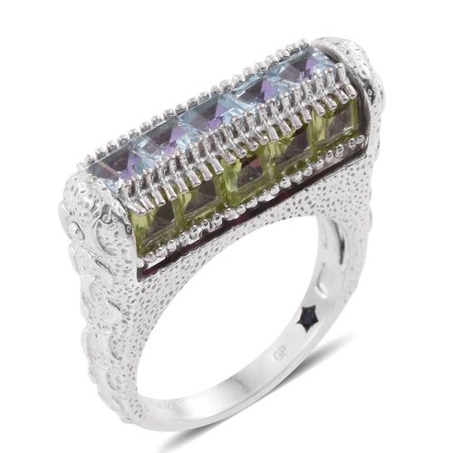 GP Rhodolite Garnet (Sqr), Sky Blue Topaz, Hebei Peridot, Amethyst and Kanchanaburi Blue Sapphire Rotating Center Ring in Platinum Overlay Sterling Silver 7.750 Ct. Silver wt 8.83 Gms.