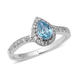 Ratnakiri Blue Zircon (Pear), Natural White Cambodian Zircon Ring in Rhodium Overlay Sterling Silver