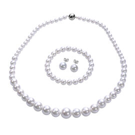 3 Piece Set - White Shell Pearl Stretchable Bracelet (Size 7), Necklace (Size 20 with Magnetic Lock)