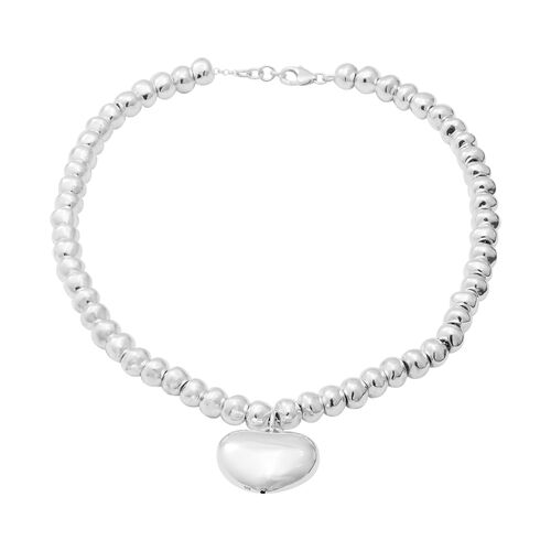 Sterling Silver Heart and Bead Necklace (Size 16 + 2in Extender)